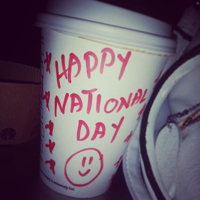 Out in Starbucks Coffee Love قهوة كوفي ستاربكس لذيذ ابداع إجازة اليوم الوطني Happy National Day @_sims_ea @kimoo400 @soulfdream @shoroqss @Ryamee205 nice Day