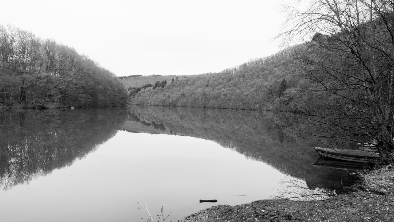 2017, Julie Gatto Beauty In Nature Blackandwhite Bridge - Man Made Structure Day Lake Luxembourg Nature No People Outdoors Reflection Scenics Sky Stausee Tranquil Scene Tranquility Tree Water Waterfront