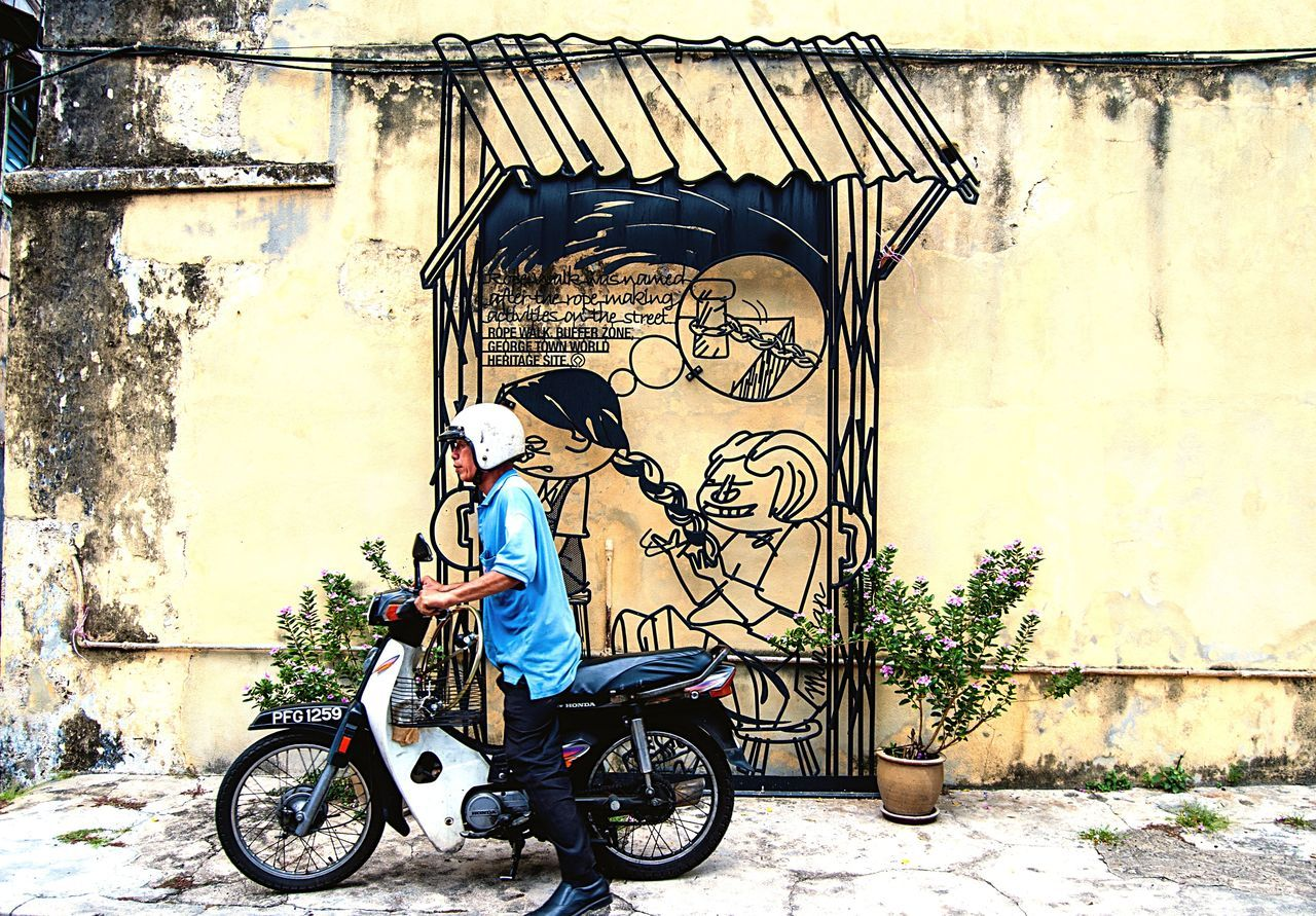 Building Exterior Art World Heritage Site Streetart Graffiti Graffiti Wall Graffiti Art Wall Art Rope Lane Asian  Southeastasia Travel Malaysia Man Scooter Motorcycle Penang Georgetown Contemporary Culture Authentic