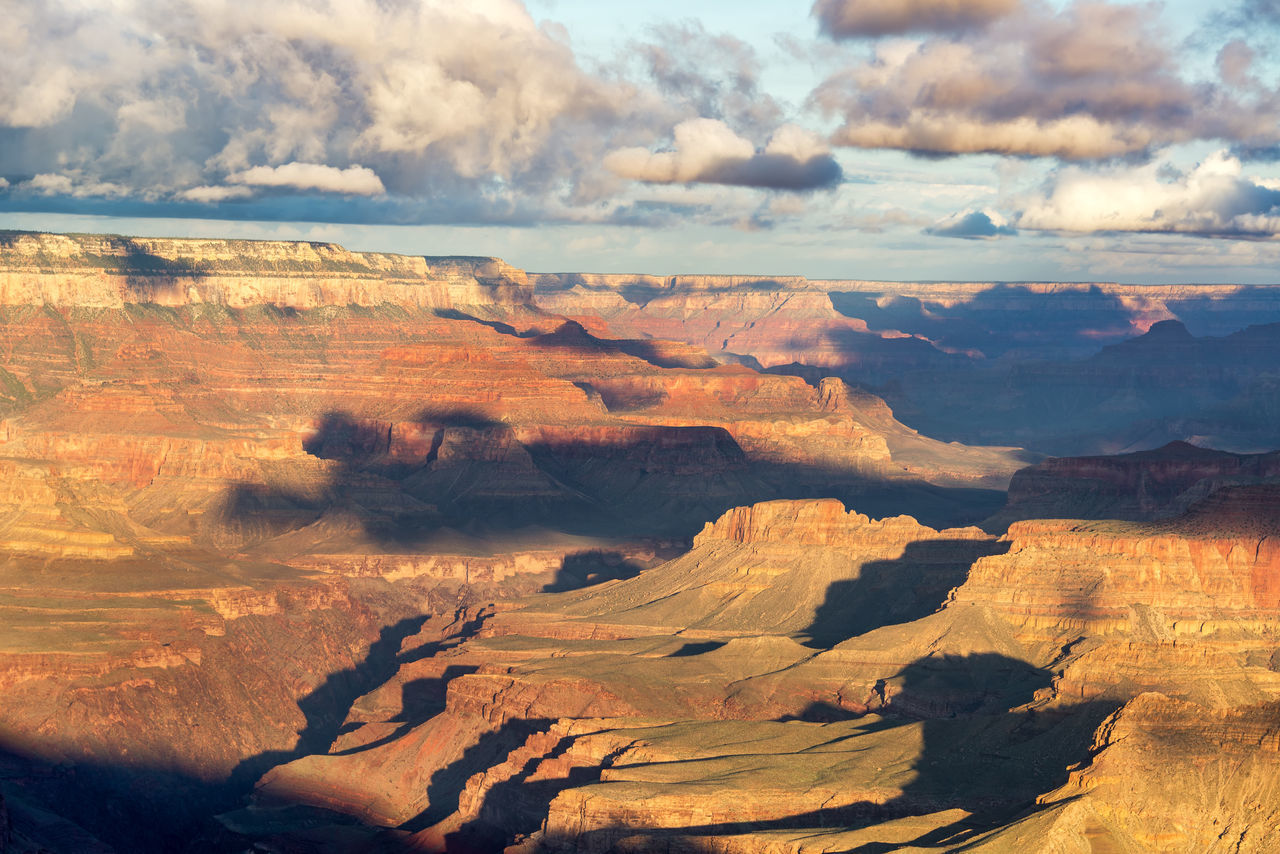 Beautiful light falling in the Grand Canyon in Arizona Arid Arid Climate Arizona Canyon Cliff Cloud - Sky Desert Geology Gorge Grand Canyon Grand Canyon National Park Landscape Nature Scenic Scenics Sky South Rim South Rim Grand Canyon Southwest  Tourism Tranquil Scene Travel Travel Destinations USA Vista