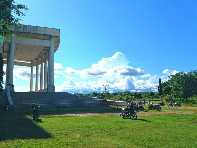 Architecture Shadow Of Building Bluesky White Clouds Motorbike Greengrass University Life Hotspring Simple Elegance
