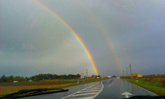 Driving under the rainbow Double Rainbows Country Road Rain Mademyday Velika Gorica-Vukovina