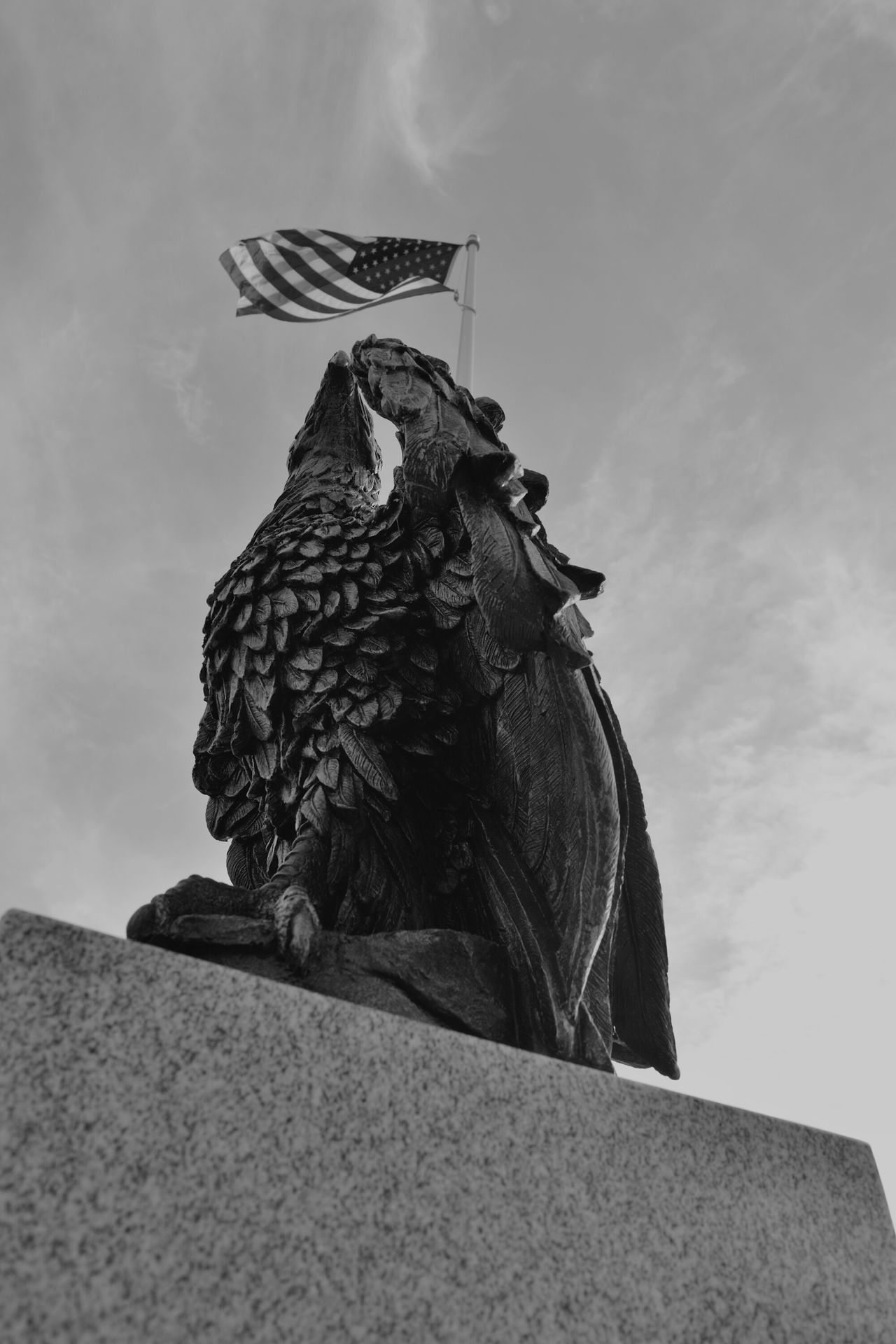 Improving my eye. Sky No People Cloud - Sky Sculpture Bird Architecture Statue Outdoors Day Black And White Blackandwhite Black&white USA American Flag American Bald Eagle America Self Improvement Adapted To The City