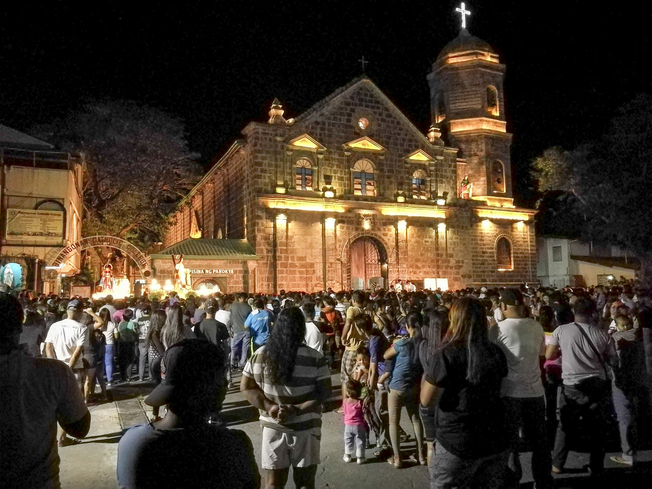 Semana Santa. Illuminated Night Architecture Large Group Of People People Tree