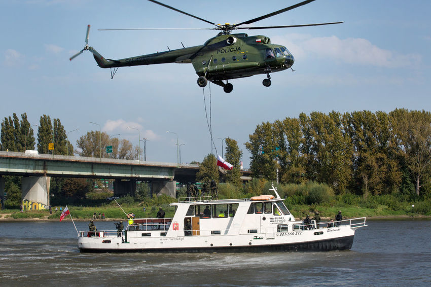 Vistula Action Bridge - Man Made Structure Day Police Anti-terrorist Exercises Police Force Police Helicopter Press Photography River
