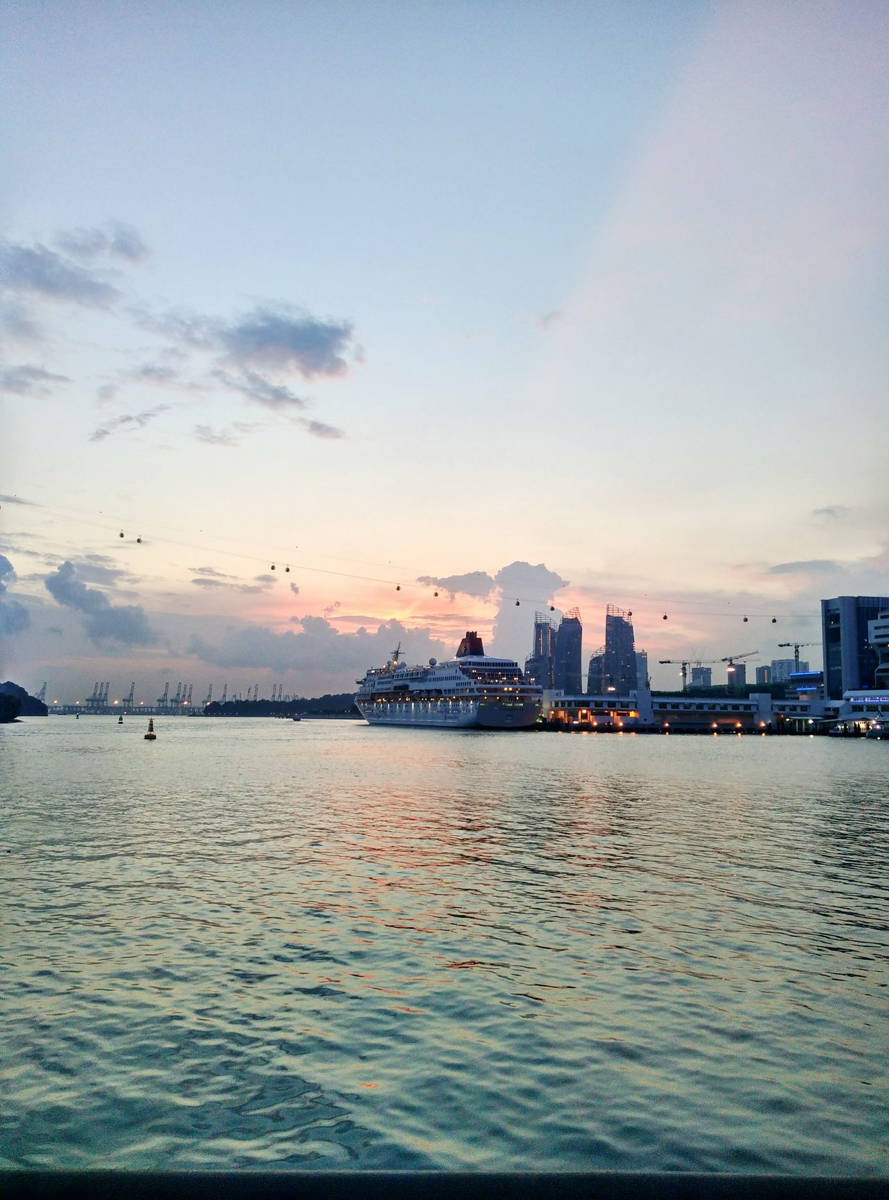 Sentosa boardwalk at sunset 🌅 Sunset Water Sky Sea Nature No People Waterfront Cloud - Sky Cable Car