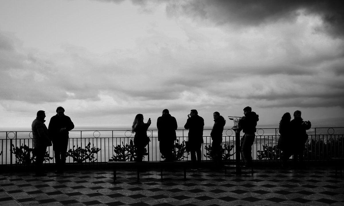 Taormina, Belvedere Taormina Sicily Taormina Italia Taormina View Belvedere People Cloudy