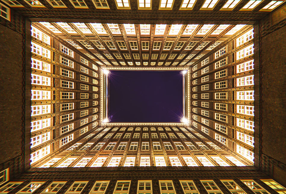 Architectural Feature Architecture Blue Building Built Structure Chile Haus Full Frame Geometric Shape Illuminated Innenhof , Low Angle View No People Patio Sky Welrkulturerbe Wide-angle Wide-angle Lens World Heritage