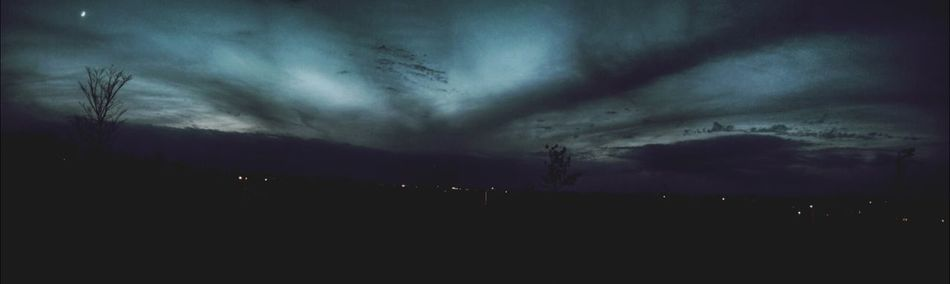 The EyeEm Facebook Cover Challenge Panoramic Photography Panorama Moonlight After Sunset the moon, the sky and trees after sunset. Blue Wave