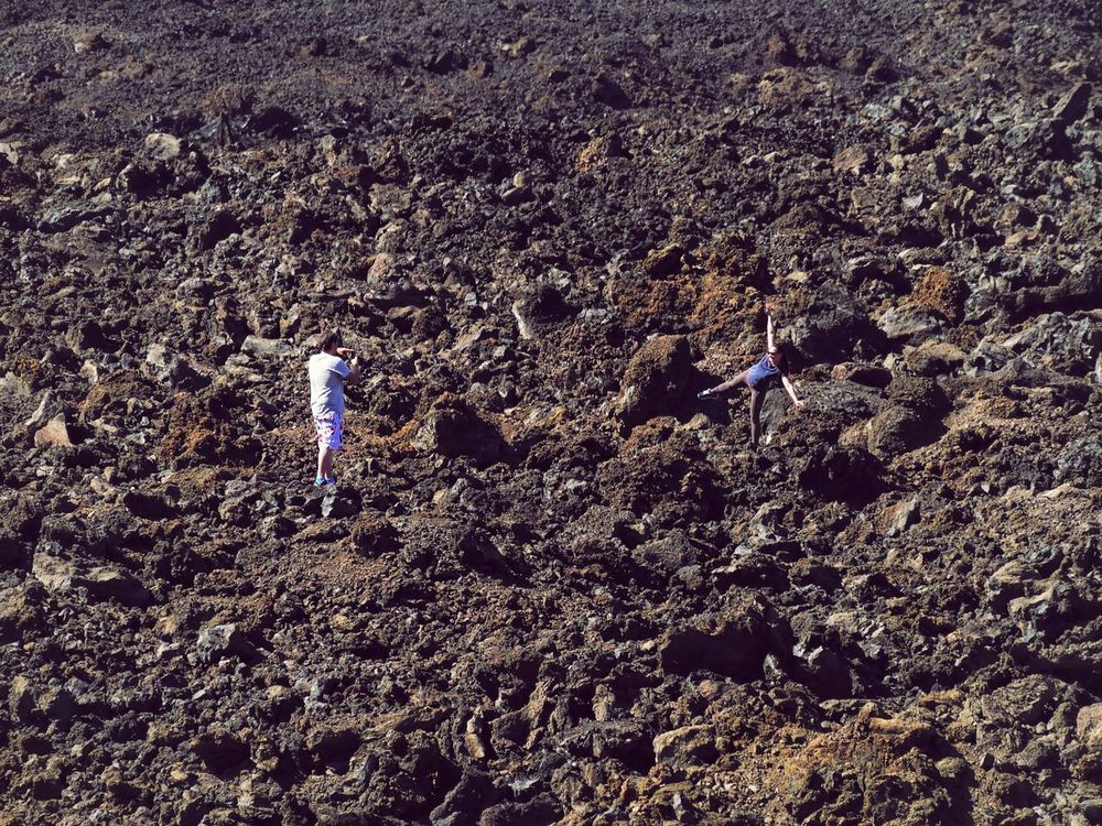 Having Fun on the Volcano Volcanic Landscape Tenerife Canary Islands SPAIN España Real People High Angle View Nature Landscape People Taking Photos Tourist Leisure Activity Arid Climate