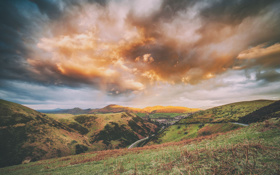 Dramatic Sunset Clouds Beauty In Nature Cloudporn Clouds Clouds And Sky Cloudscape Cloudscape Dramatic Landscape Dramatic Sky Extreme Weather Heather Hills Landscape Light Moorland Nature No People Sunset United Kingdom Valley Winding Road