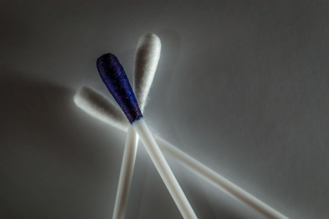 Blue Ink Ink Macro Cotton Swab Minimalism