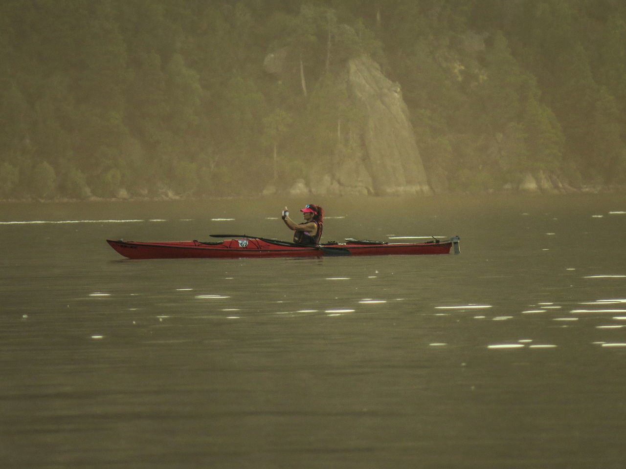 Adventure Beauty In Nature Day Kayak Lago Lacar Lifestyles Men Nature Nautical Vessel Oar One Person Outdoors People Real People River Rowing Travel Vacations Water Waterfront