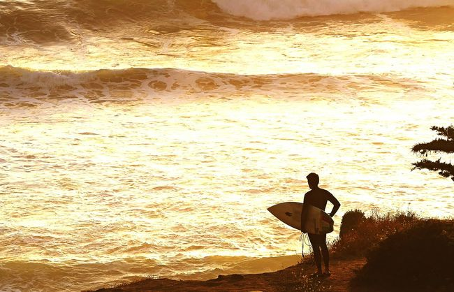 Surfer Stands At Sea A Lone Wave Sea And Sky Gold Sea The Beach