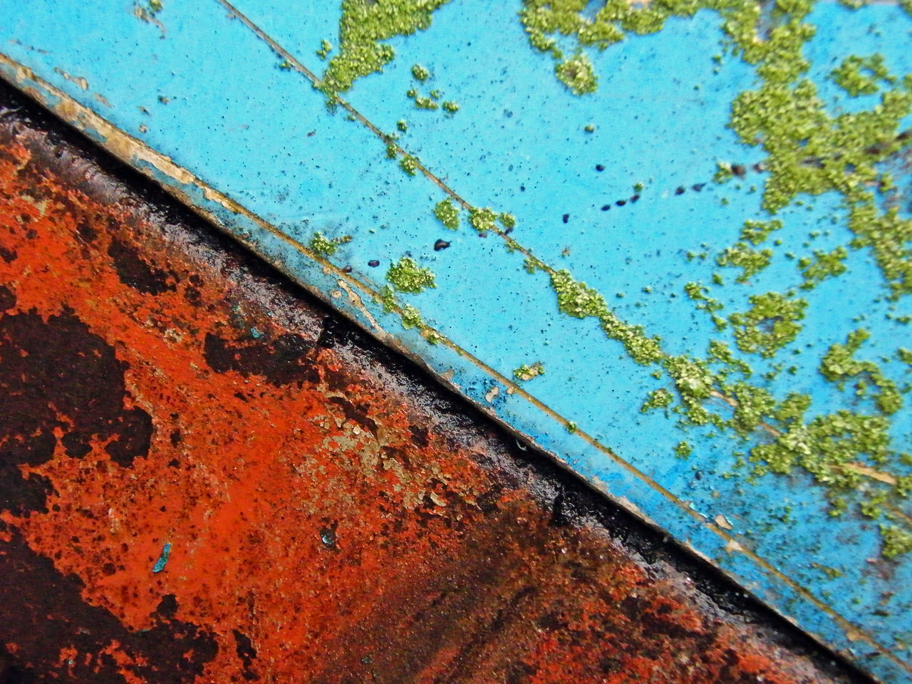 Diagonal Red Backgrounds Blue Close-up Day No People Outdoors Rusty Textured  Weathered