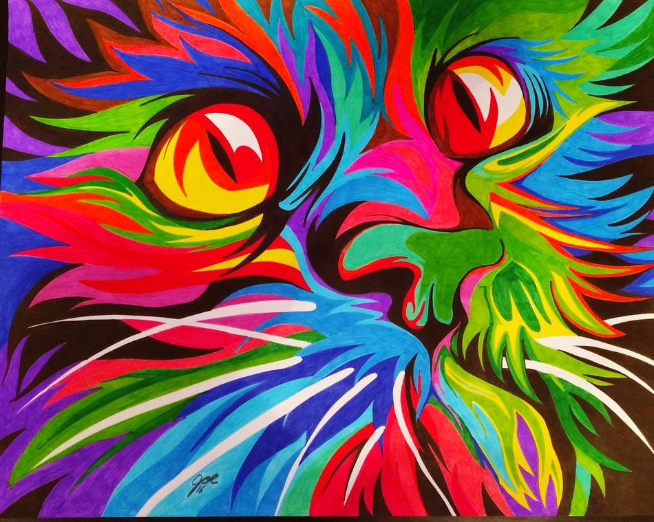 Cat Eyes Cat Cateyes Catart CrayolaMarkers Crayola Art Crayola Color... Art ArtWork Artistic Art And Craft Multiple Color Multicolors  Relaxing