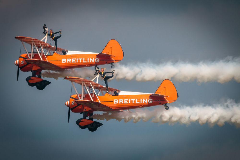 Adventure Club Breitling Cloud - Sky Flyng National Museum Of Flight Orange Color Outdoors Sky Stunts First Eyeem Photo