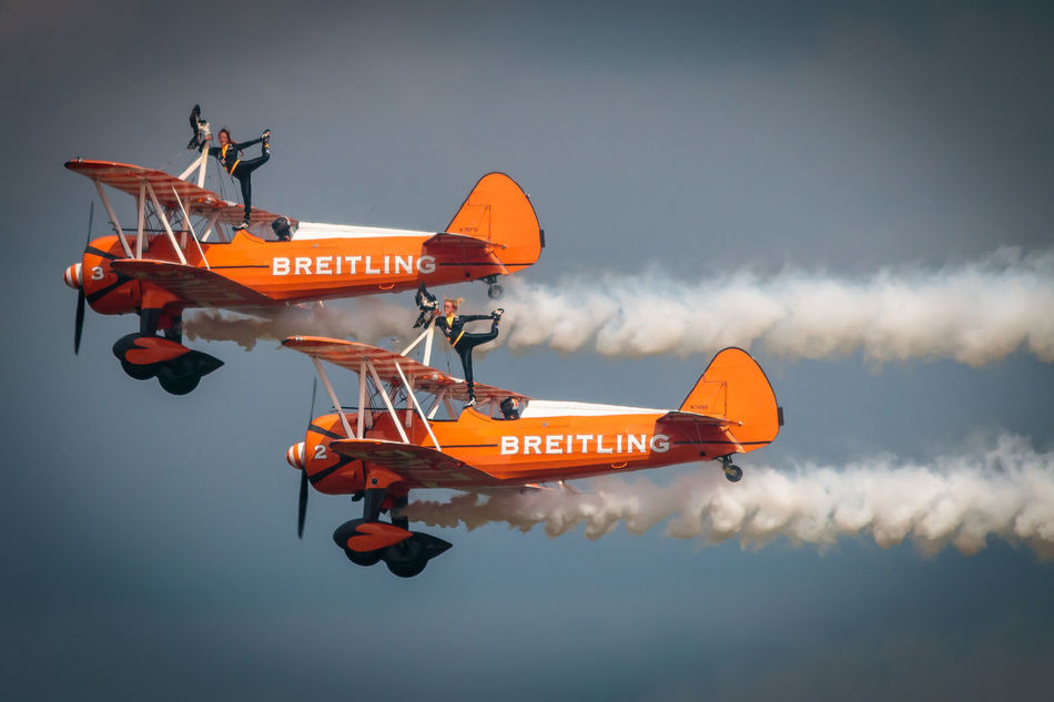 Adventure Club Breitling Cloud - Sky Flyng National Museum Of Flight Orange Color Outdoors Sky Stunts First Eyeem Photo