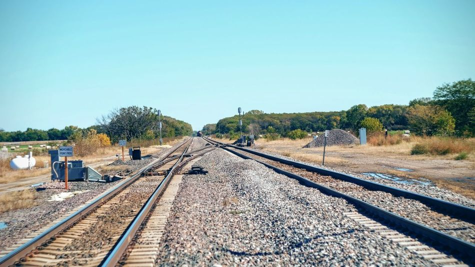 Photo essay - A day in the life. Alexandria, Nebraska October 2016 A Day In The Life Autumn Camera Work Clear Sky Copy Space Day Diminishing Perspective Eye For Photography EyeEm Best Shots EyeEm Masterclass FUJIFILM X-T1 Outdoors Photo Diary Photo Essay Rail Transportation Railroad Track Railway Signal Railway Track Rural America Scenics Surface Level The Way Forward Transportation Vanishing Point Visual Journal