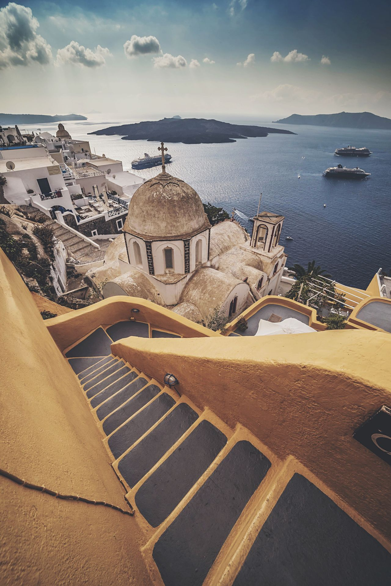 Steep Steps Thira(Fira) Santorini Santorini Sea Water High Angle View Sky Nature Travel Destinations Day No People Scenics Outdoors Religion History Horizon Over Water Beauty In Nature Dome Tranquility Sunlight Built Structure Beach Architecture The Great Outdoors - 2017 EyeEm Awards The Architect - 2017 EyeEm Awards The Street Photographer - 2017 EyeEm Awards