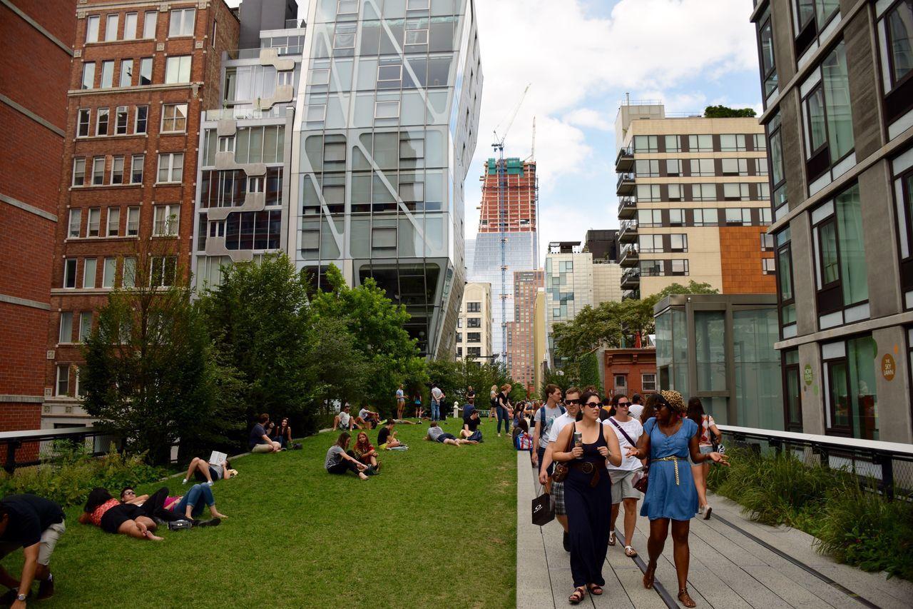 Brooklyn Buildings High Line Park Manhattan New York Night Traffic Urban