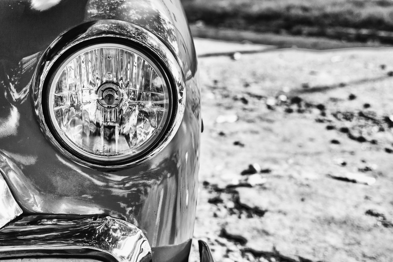 Black And White Classic Car Close-up Cuba Collection Cuban Cars Day Focus On Foreground Land Vehicle Lantern Light Mode Of Transport No People Old Havana Outdoors Transportation Vintage Cars