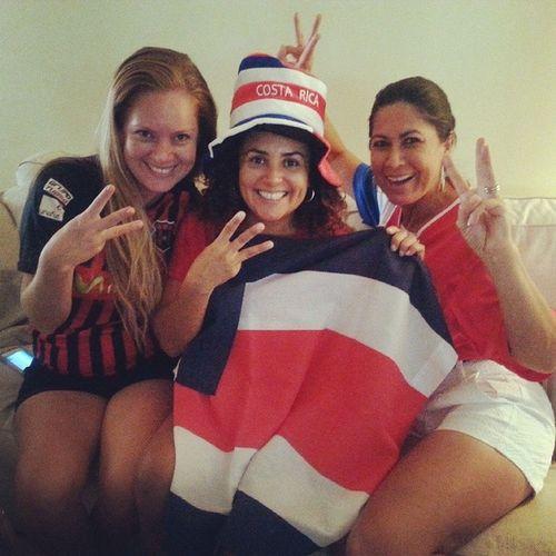 Three Goals three Costarican Girlz celebrating worldcup win costarica footballgame brasil2014 futbol ilovecostarica 100happydays