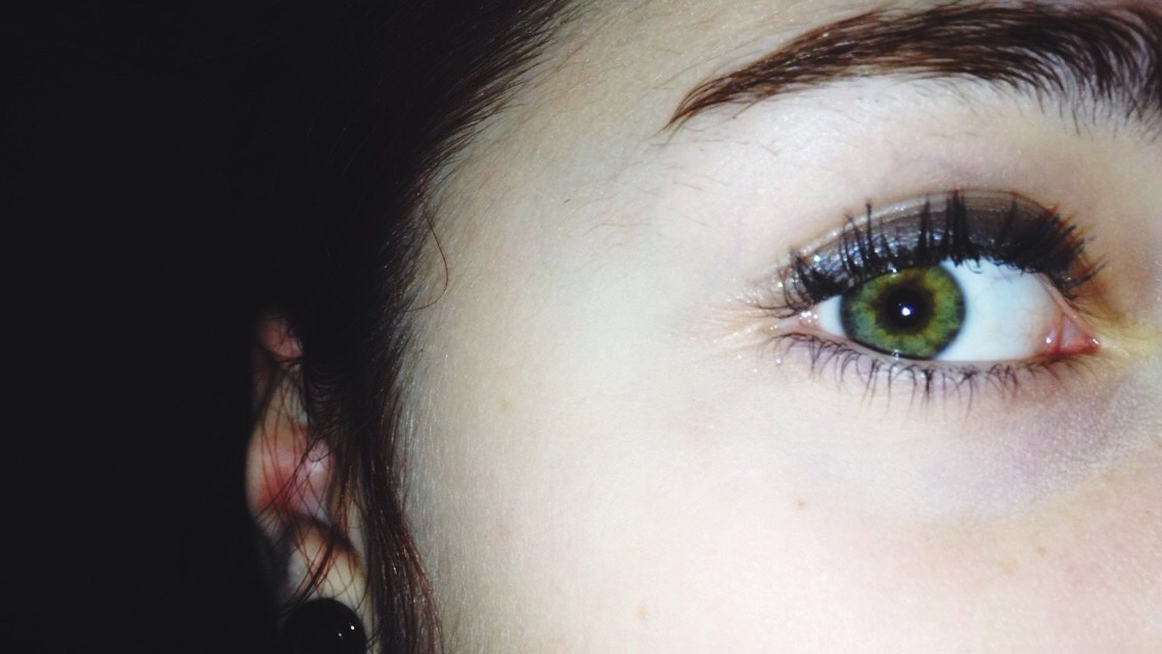 human eye, close-up, eyelash, human face, looking at camera, human skin, lifestyles, eyesight, sensory perception, portrait, part of, headshot, person, eyebrow, extreme close up, studio shot, eyeball