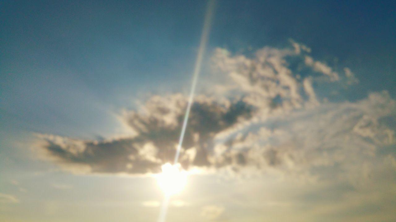 Sky Blue Cloud - Sky Nature Heaven No People Outdoors Scenics Backgrounds Day Sky Only Beauty In Nature Sunlight Mobilephotography @eyeemphotography @EYEEMPHOTO Sunbeam Carefree Joy Imagine Vapor Trail