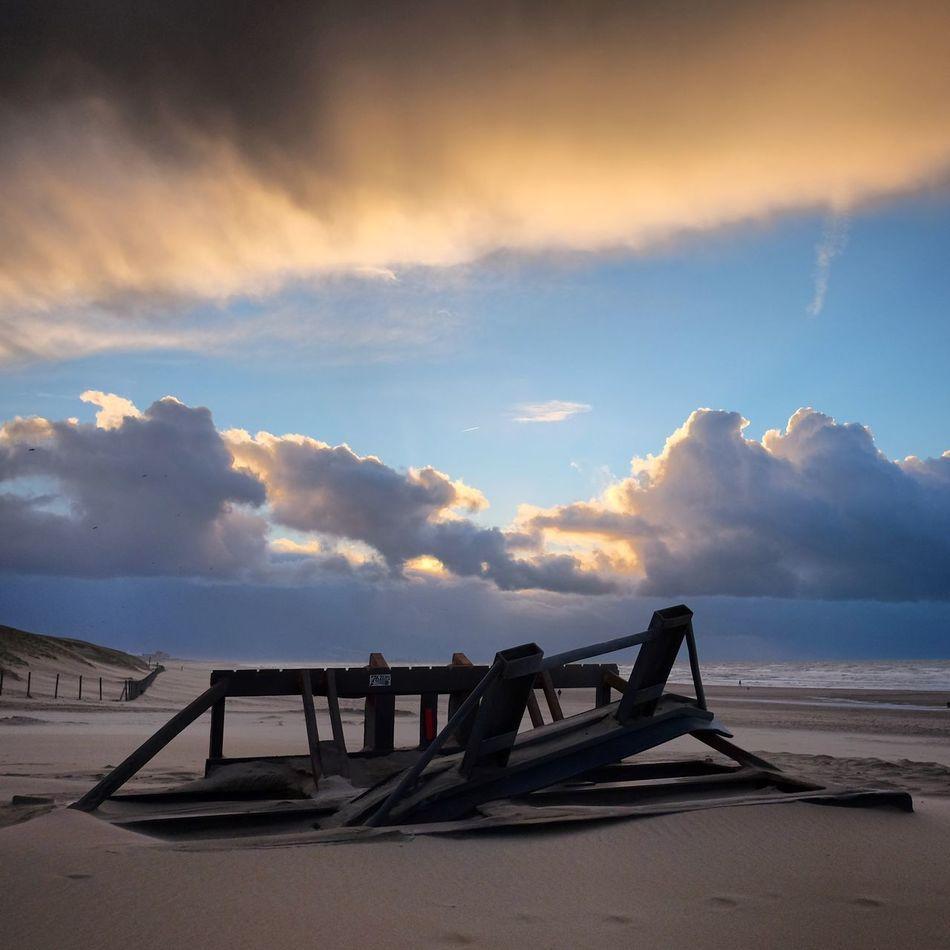 Debris on the beach. Beach Clouds And Sky Den Haag Debris Landscape Evening Sunset