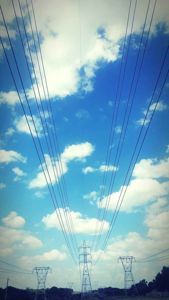 cable, power line, connection, power supply, cloud - sky, electricity, sky, electricity pylon, low angle view, fuel and power generation, technology, no people, day, nature, blue, outdoors, parallel, telephone line