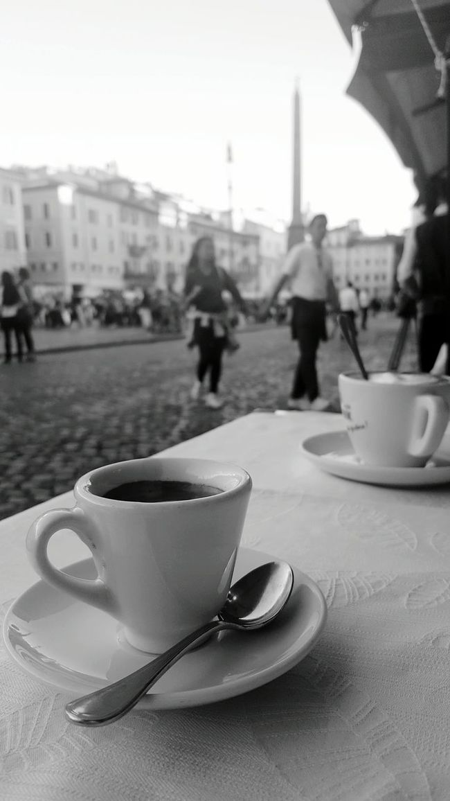 Monochrome Photography Coffee - Drink Coffee Cup City Life Espresso Coffee Break City Break Outdoors Travel Destinations Cup Table Close-up People City Latte Day Espresso Macchiato Cappuccino Piazza Navona Love Love Is In The AirEyeem Travel Traveling Travel Photography Black & White
