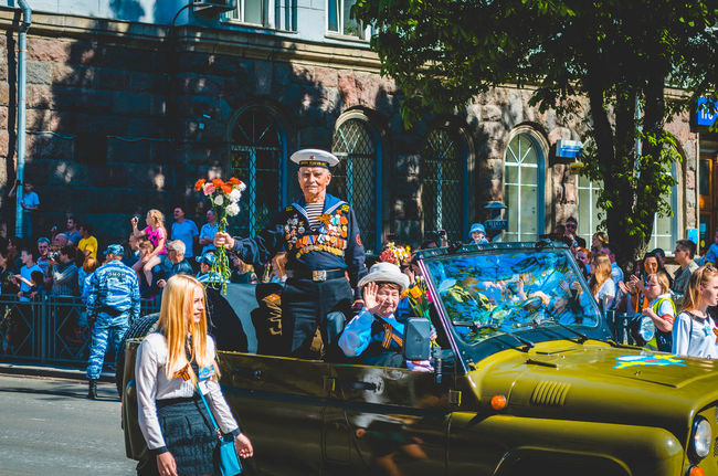 Celebration City Day Dead Honor Parade People Pskov Russia Spring Walking Around War Weapon