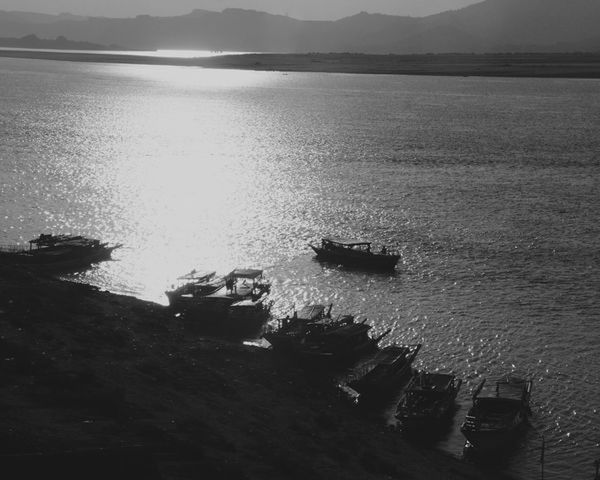 Beauty In Nature Black Day High Angle View Moored Mountain Myanmar Nature Nautical Vessel Outdoors River Scenics Sky Tranquility Transportation Travel Destinations Water