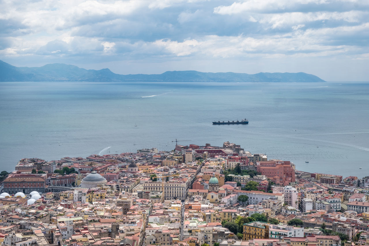 Architecture Building Exterior Built Structure Campania City Cityscape Cloud - Sky Day Gulf Of Naples High Angle View Horizon Over Water Mediterranean Sea Mountain Nautical Vessel No People Outdoors Scenics Sea Sky Tourism Town Transportation Travel Destinations Vacations Water