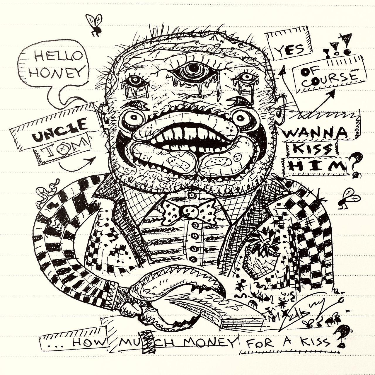 doodle, sketch, paper, pencil drawing, human face, fine art portrait, music, the media, adult, human body part, internet, people