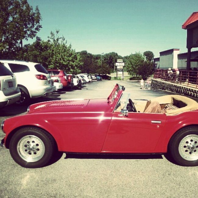Austinhealy Car Wheels Classic vintage red iowa cars convertible random gruntworthy collectors