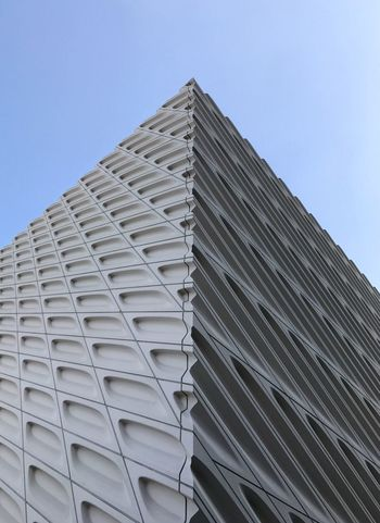 Architectural Details of The Broad Museum. Architecture Low Angle View Built Structure Building Exterior Modern No People Day Outdoors Clear Sky Sky City Tall Blue Repetition Exterior Architectural Feature City Life Destination Tourism Art Museum Tourist Destination Contemporary White Pattern