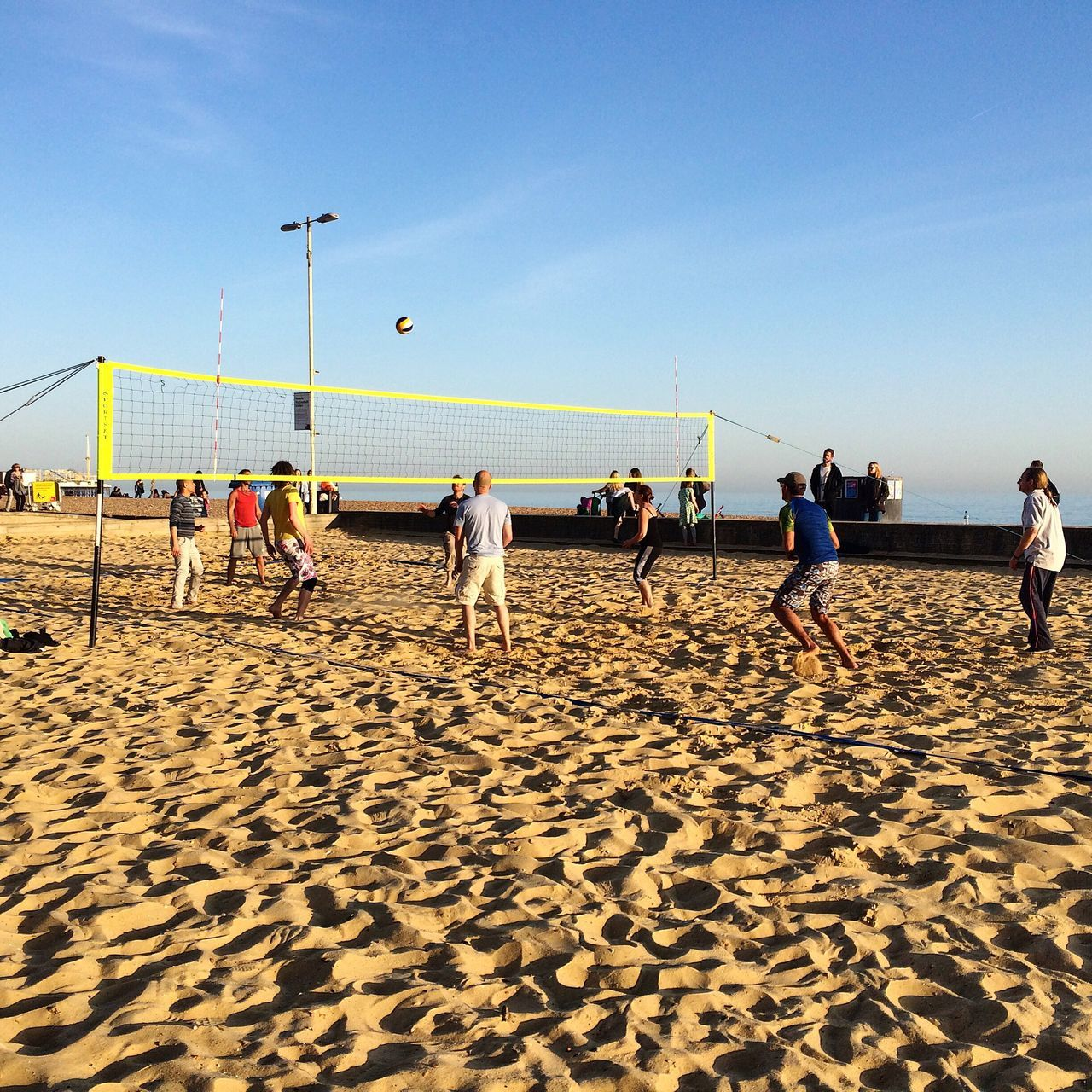 Brighton Brighton Beach Volleyball Beach Blue Sky Sports United Kingdom Players Outdoor Playing