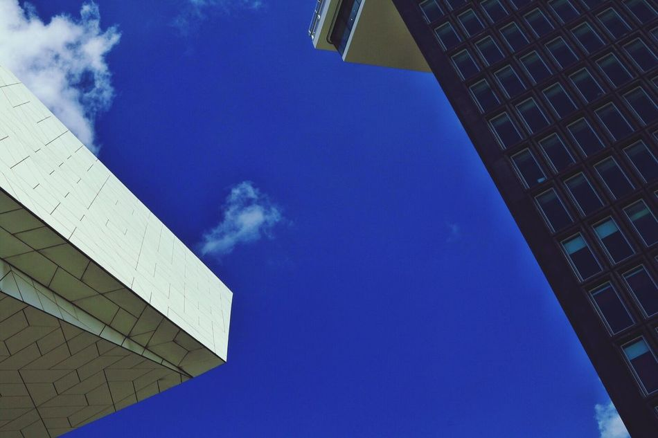 Architecture Building Exterior Built Structure Low Angle View Blue No People Day Outdoors Sky Modern City Modern Architecture Modern Building Science Fiction Modern Archictecture