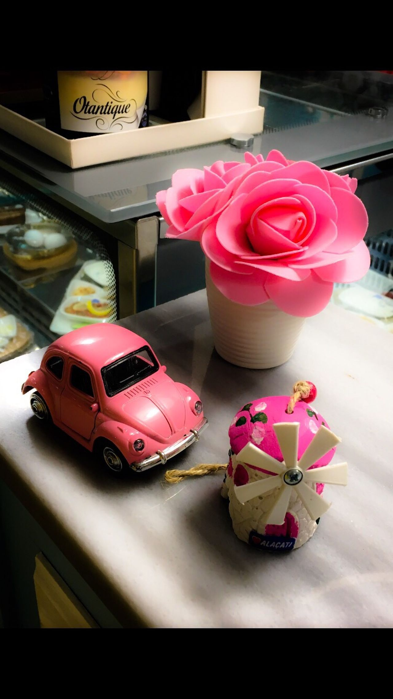 Indoors  Pink Color Large Group Of Objects No People Collection Freshness Arrangement Windmill Small Car Woswos Flower Pink Flower Pink Car