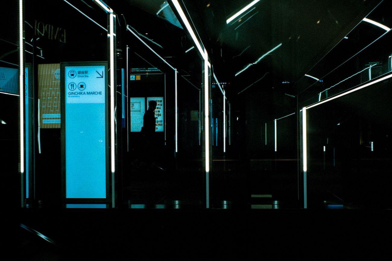 Blue Night Dark Illuminated Sky Green Color Complexity Outline No People 35mm Film Streetphotography Street Photography Film Photography Film Colors 35mm EyeEm Best Shots Tokyo Street Photography Leicacamera