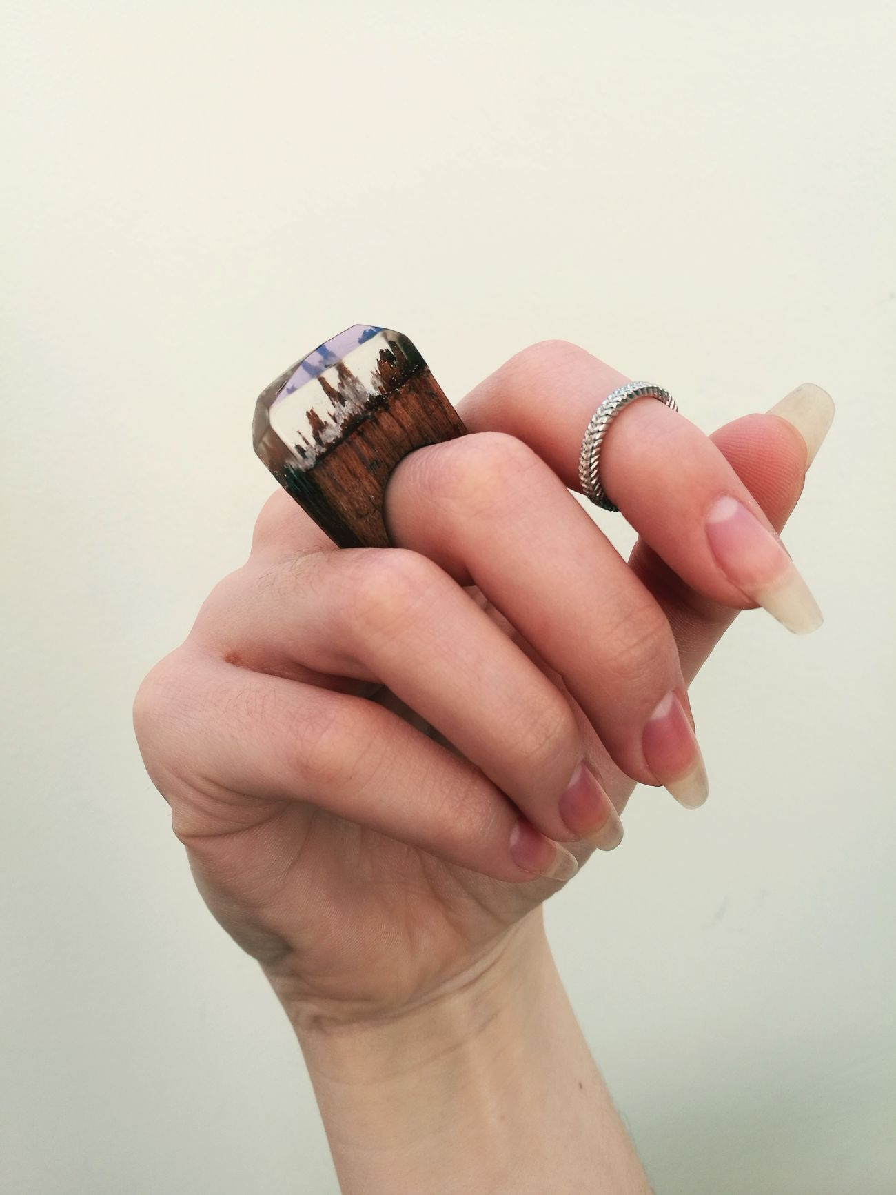 Ring Long Nails Nails Ring Stone Hand Clear Nails Rings♥ Wood Rings Clear White Color
