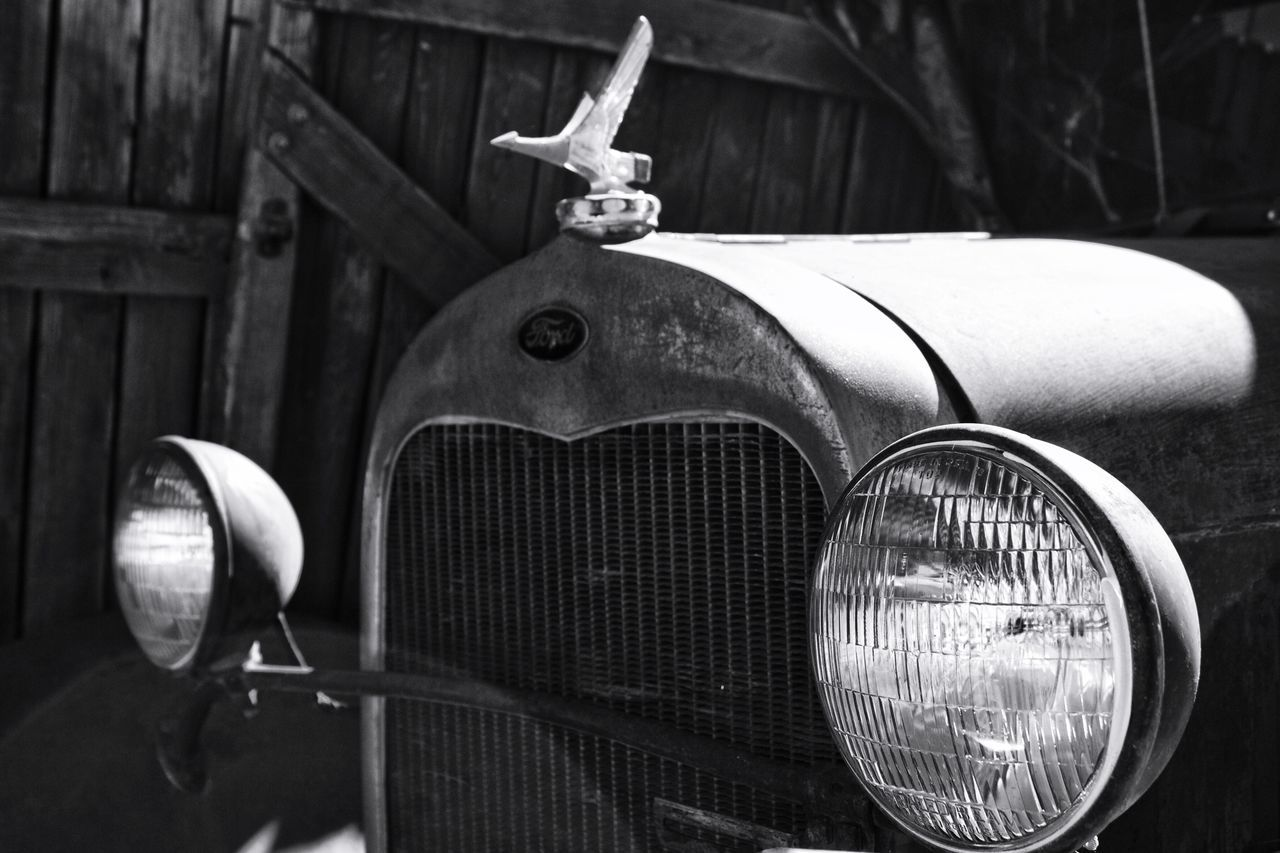 Mode Of Transport Part Of Focus On Foreground Transportation Close-up Stationary Day Outdoors Journey No People Hood Ornament Rusty Autos Old-fashioned Old Car Monochrome Photography My Year My View