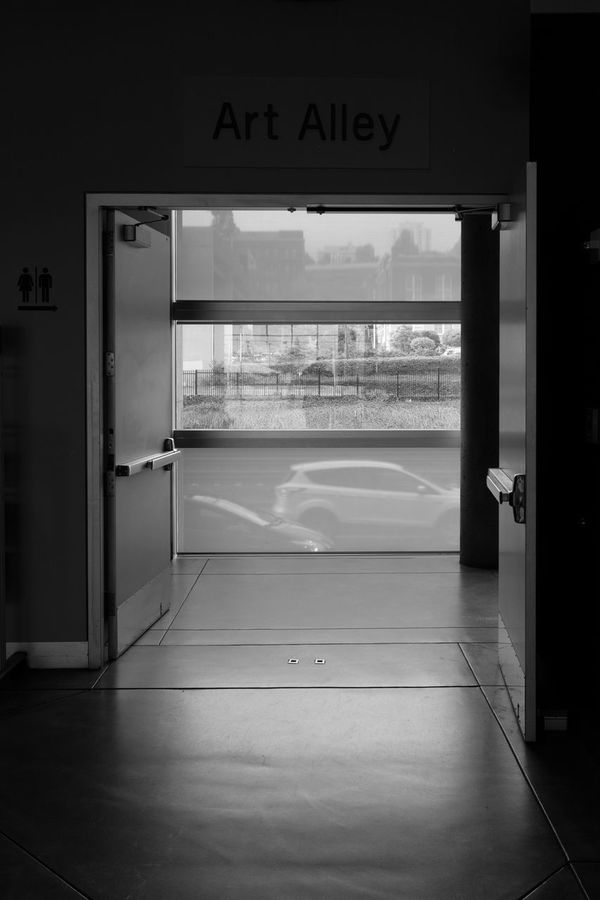 Framed Street Alley Art Alley Black & White Black And White Black&white Blackandwhite Cars Culture Door Doors Entrance Glass Museum Of Glass Seattle Sign Transitional Moments Window