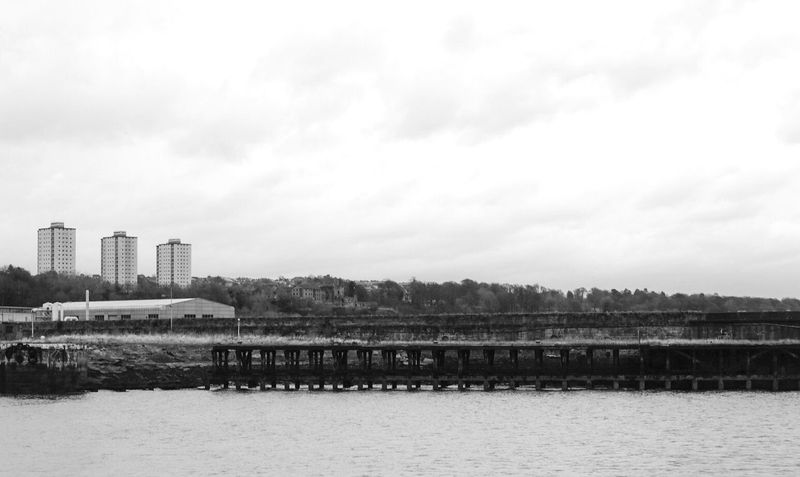 City Water Sky Built Structure Nature Building Exterior Architecture Outdoors Day No People Flats Tower Block  High Rise Building Kirkcaldy Fife  Scotland Coastal Working Class Black And White Blackandwhite Bnw Monochrome