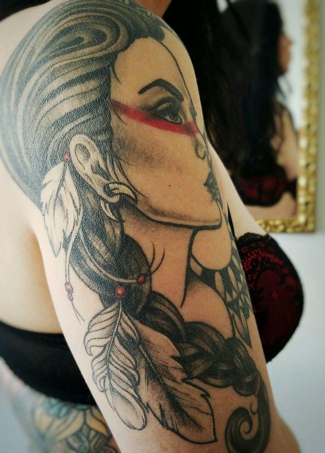 Amazon Warrior - Tattoo artist and original drawing by Amanda Douglass. Tattoo Life Focus On Foreground Long Hair Beauty Young Adult Creativity Tattooed Tattoomodels Bodyart Young Women Tattoolife Tattoosarehot Tattooedchick