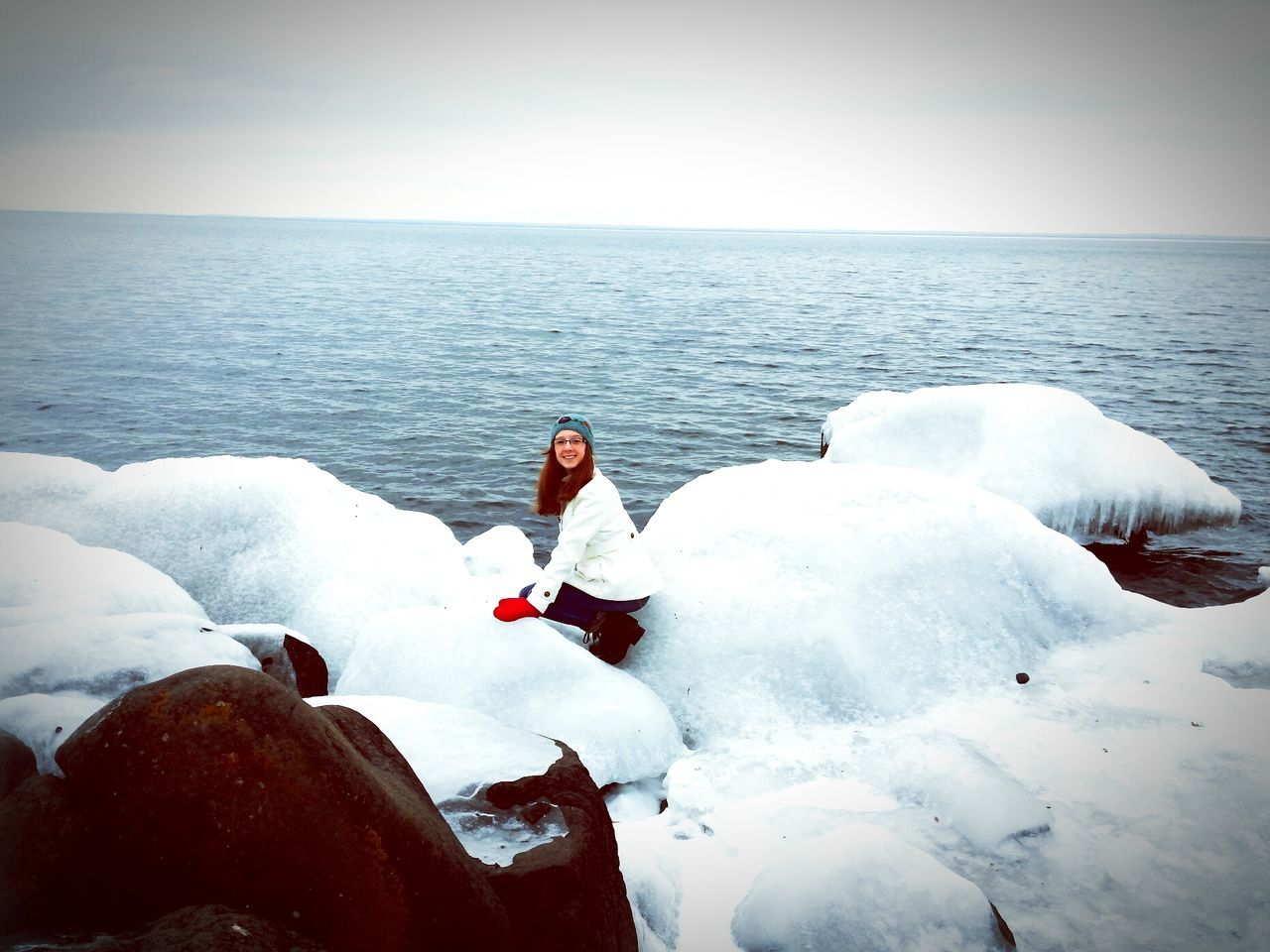 Chance Encounters Lake Superior Icey❄ On The Rocks Cold Winter ❄⛄ Clear Sky Outdoors Nature Lakeshore