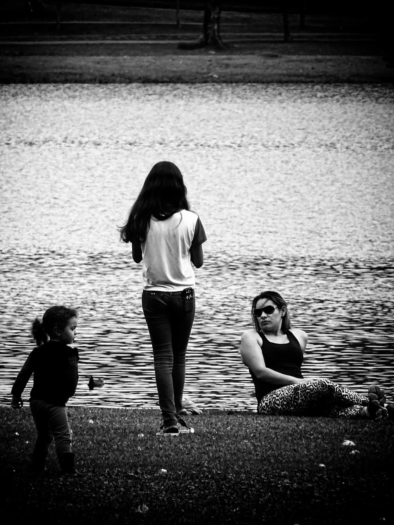 Lifestyles Casual Clothing Full Length Rear View Leisure Activity Childhood Child Crouching Innocence Water Riverbank Togetherness Person Day Carefree Looking Blackandwhite Black And White B L A C K A N D W H I T E Black & White Blackandwhite Photography Black&white Blackandwhitephotography Beautiful Nature Solitude