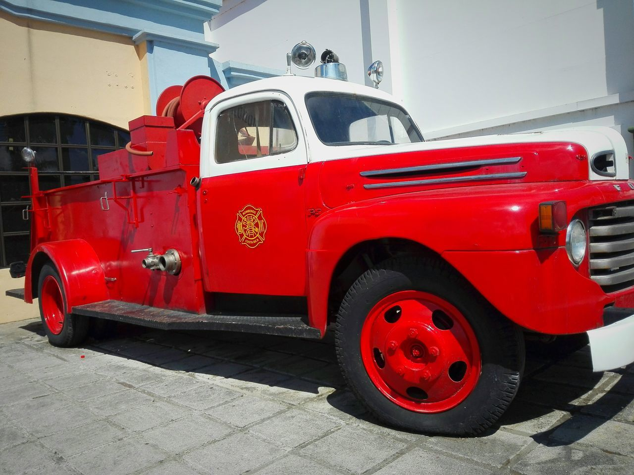Bomberos Costa Rica Transportation Firework Automobile Clasic Cars Classic Old Vintage Cars Red Fire Engine Land Vehicle Accidents And Disasters Outdoors Day No People
